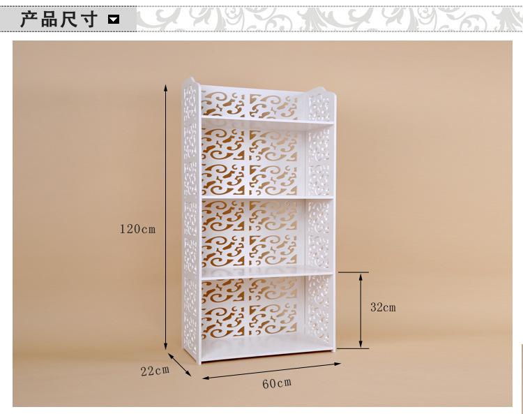 雕花镂空欧式白色四层置物架